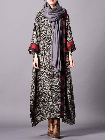 Vintage Floral Round Neck Long Sleeve Loose Asymmetric Maxi Dresses