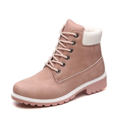Autumn and winter new flat bottom couple short boots Martin boots leather boots