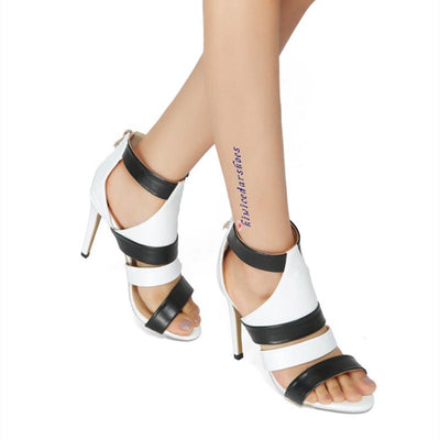 Black and white color matching high heel sandals