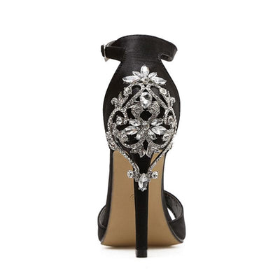 Flower Hollow Stiletto Heel Ankle Strap Belt Open Toe Hollow Sandals