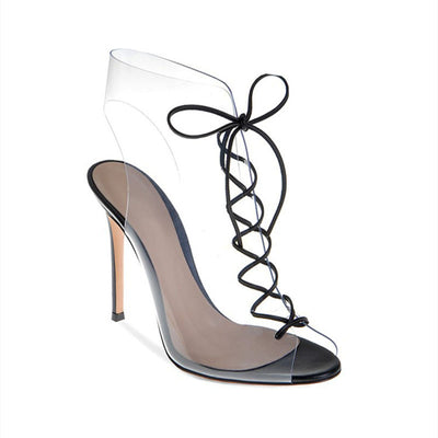Fish mouth transparent fashion high heel sandals