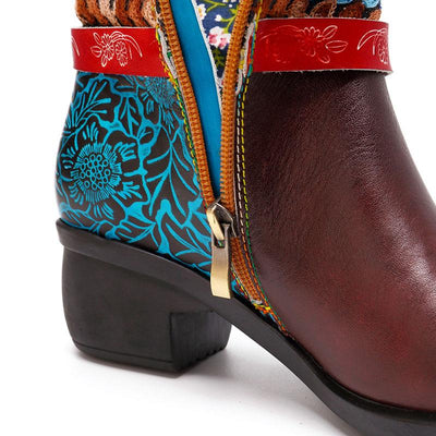 Embroidery Bowknot Side Zipper Chunky Heel Leather Knee-High Boots