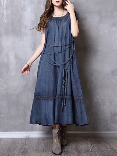 Plus Size Cotton Belt Short Sleeve Pleated Round Neck Denim Dresses