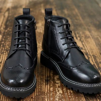 Winter high-top business Brock shoes men's Martin boots British style casual boots fashion formal leather boots