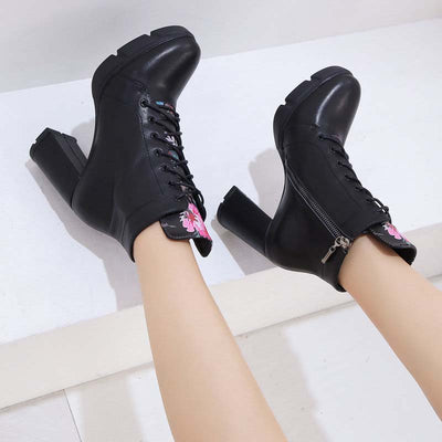 Autumn and winter fashion comfortable leather thick high heel waterproof platform national wind Martin boots