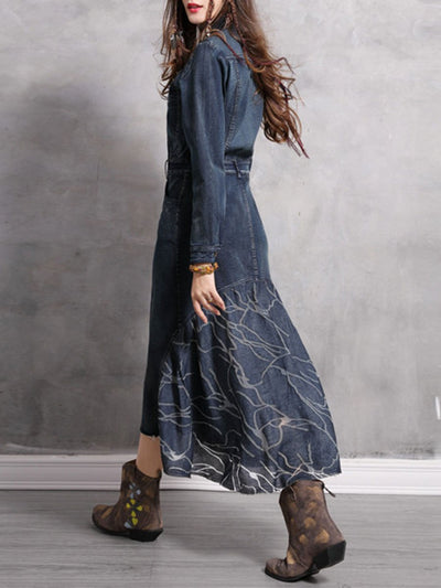 Asymmetric Floral Turn Down Collar Pocket Long Sleeve Denim Dresses