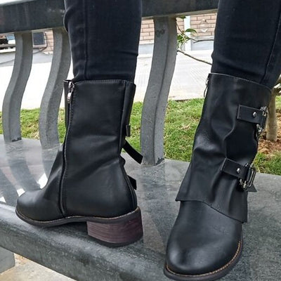 2019 new buckle stitching side zipper casual women's Martin boots