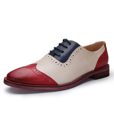 Large Size Hollow Patchwork Wing Tips Leather Lace-Up Loafers