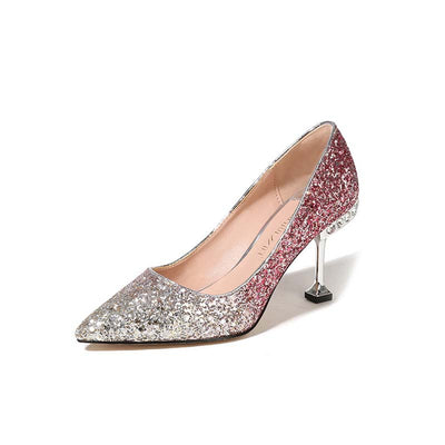 Sexy pointed fine cat with sequins gradient high heels