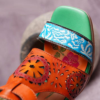 Unique Printing Hollow Strap Leather Sandals