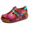 2019 spring new casual retro ethnic style handmade leather stitching printed flat women's shoes