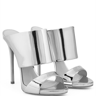 Luxury silver champagne high heel sandals and slippers