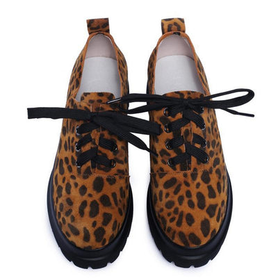 Leopard Lace-Up Suede Leather Round Toe Mid Heel Loafers