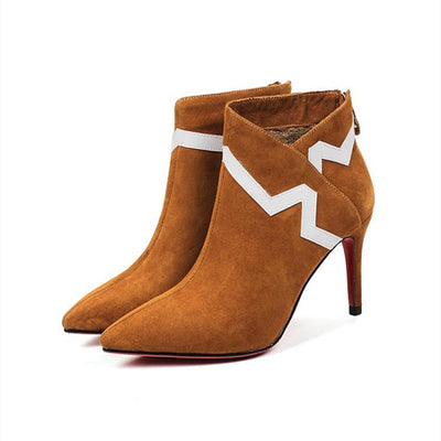 Plus velvet suede single boot with high heel color