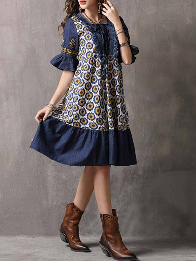 Floral Bowknot Patchwork Ruffle Short Sleeve Round Neck Day Dresses