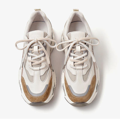 Autumn and winter round toe leather boost shoes round toe lace-up women's sneakers