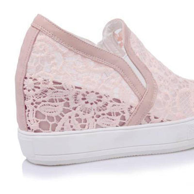 Large Size Solid Color Lace Hollow Round Toe Platform Slip-On Wedges