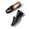 Spring 2020 new love shoes thick heel patent leather increased horsebit buckle leather British wild shoes