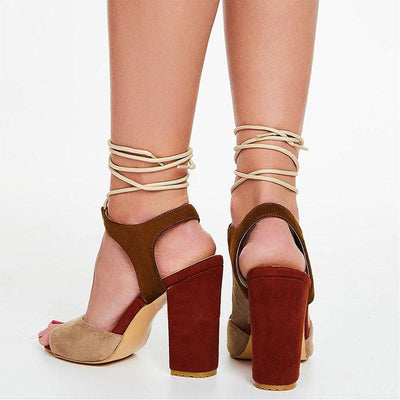 Chunky Heel Color Block Peep Toe Lace-Up Hollow Sandals