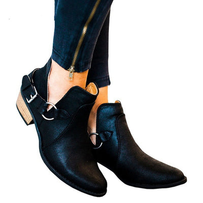 Solid color matte belt buckle casual thick heel comfortable Martin boots