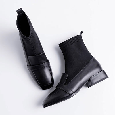 2019 new square head cowhide women's elastic socks boots