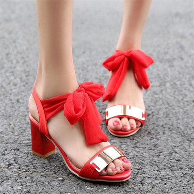 Lace-Up Open Toe Square Heel Sequins Bowknot Sandals
