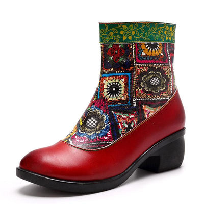 Embroidery Chunky Heel Round Toe Retro Style Leather Boots