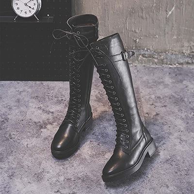 2019 new European and American cross straps side zipper high tube flat bottom rider boots women