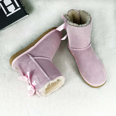 2019 new ladies leather tube plus velvet cotton boots snow boots-2