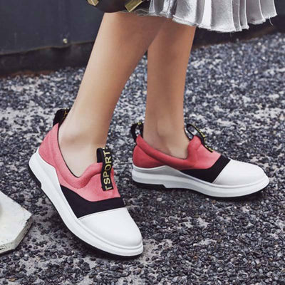 Letter Color Block Round Toe Plus Size Patchwork Flat Heel Loafers