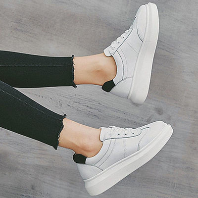 Color Block Elevator Lace-Up Round Toe Leather Sneakers