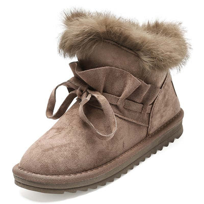 Winter new plus velvet warm non-slip bow rabbit fur snow boots