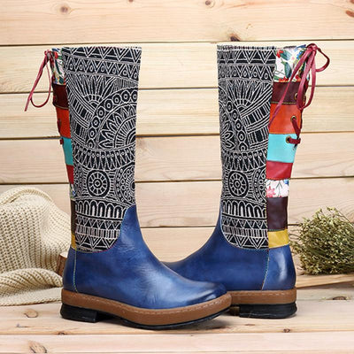 Bohemian Leather Knee-High Round Toe Floral Lace-Up Boots