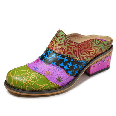 Floral Flower Leather Patchwork Color Block Chunky Heel Loafers