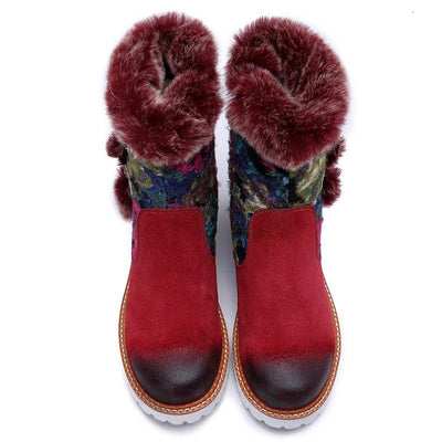 Fur Leather Color Block Low Heel Buckle Mid-Calf Boots