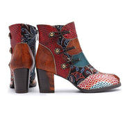 Retro Style Leather Color Block Chunky Heel Floral Ankle Boots