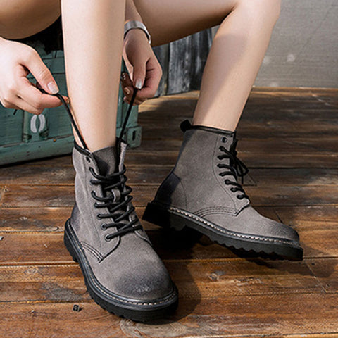 Suede Leather Chunky Heel High-Upper Lace-Up Boots