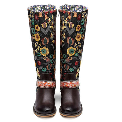 Vintage Embroidery Chunky Low Heel Leather Round Toe Knee-High Boots