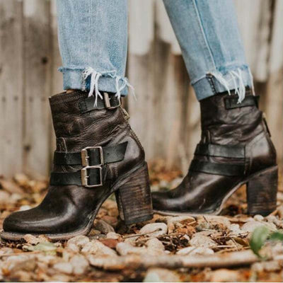 Autumn and winter new belt buckle round head high heel Martin boots women's boots