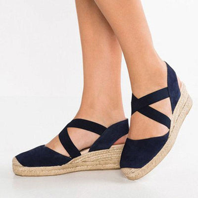 Round Toe Breathable Hollow Cross Platform Heel Plus Size Sandals