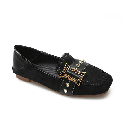 Square head belt buckle wild beef tendon bottom suede shoes