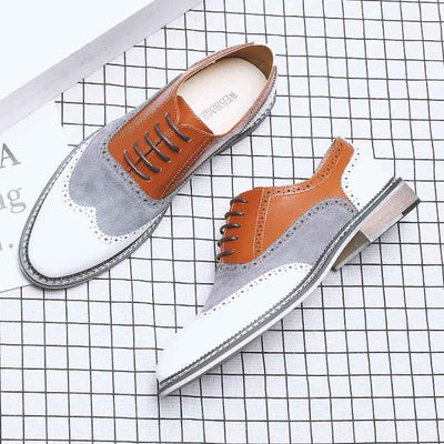 British business casual Brock color matching leather shoes