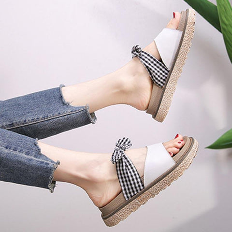Sweet Bowknot Plaid Open Toe Platform Large Size Sandals