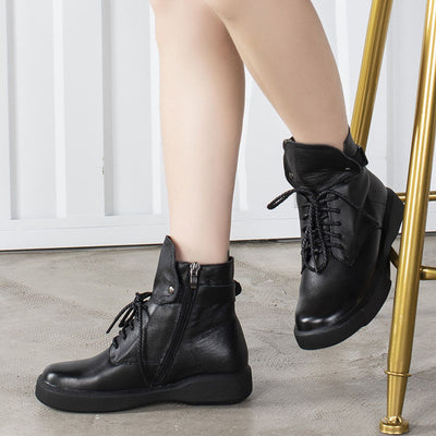 2019 autumn leather women's boots soft bottom flat ankle boots winter cotton boots