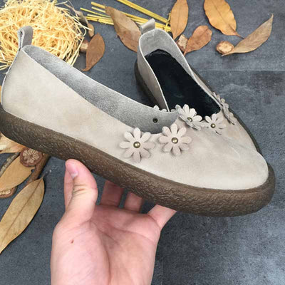 Vintage art leather casual shoes