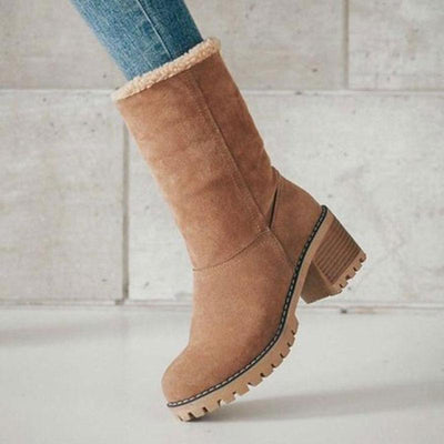 Plus Size Solid Color Rubber Sole Thick Chunky Heel Round Toe Mid-Calf Snow Boots