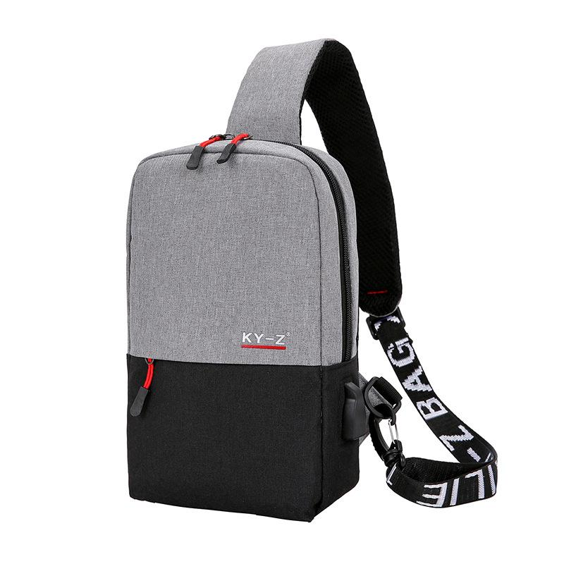 New Leisure Messenger Bag USB Charging Bag Outdoor Travel Sports Shoulder Bag