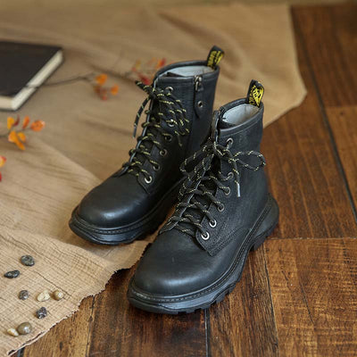2019 autumn new retro handmade leather lace low boots