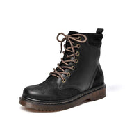 New laced leather platform retro tide British long tube Martin boots