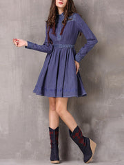 A-Line Belt Turn Down Collar Pleated Button Long Sleeve Denim Dresses